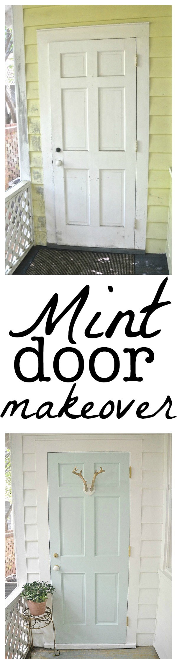 Mint door makeover - Behr Whipped Mint - lizmarieblog.com  sc 1 st  Liz Marie Blog & Whipped Mint Door- Sunroom Makeover - Liz Marie Blog pezcame.com