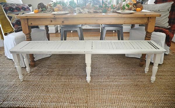 DIY shutter bench - lizmarieblog.com