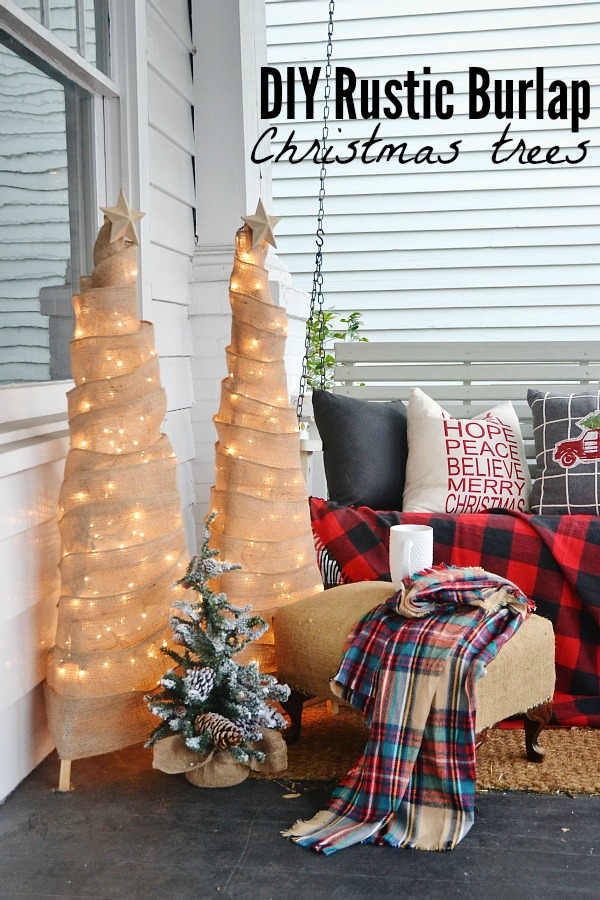 DIY rustic Burlap Christmas trees- an easy DIY holiday project!!