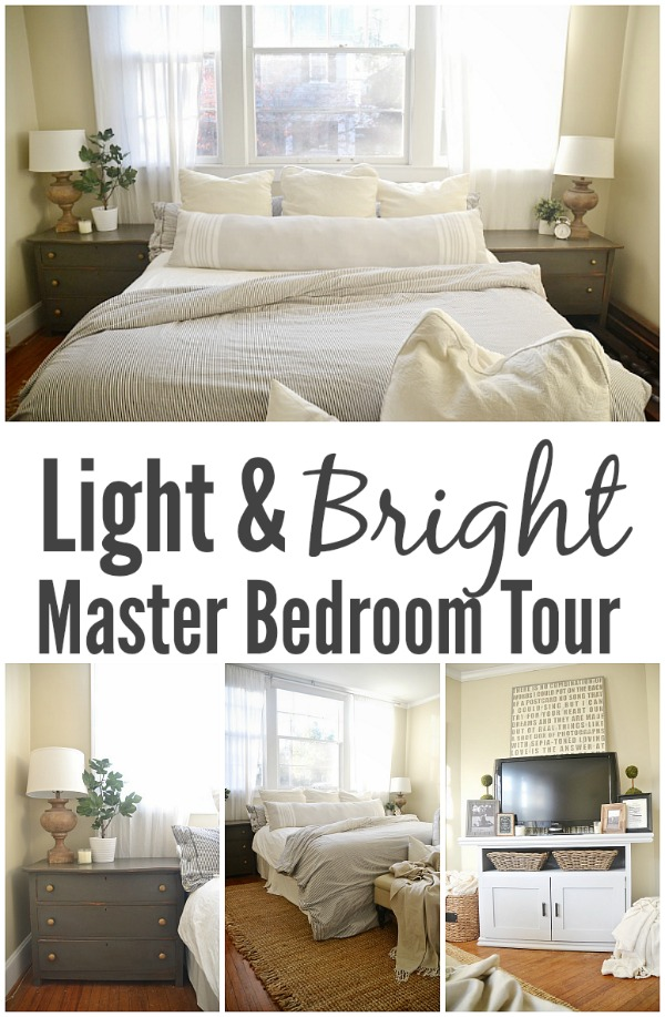 Light & bright master bedroom - lovely inspiration on how to create a light & bright bedroom in your home!