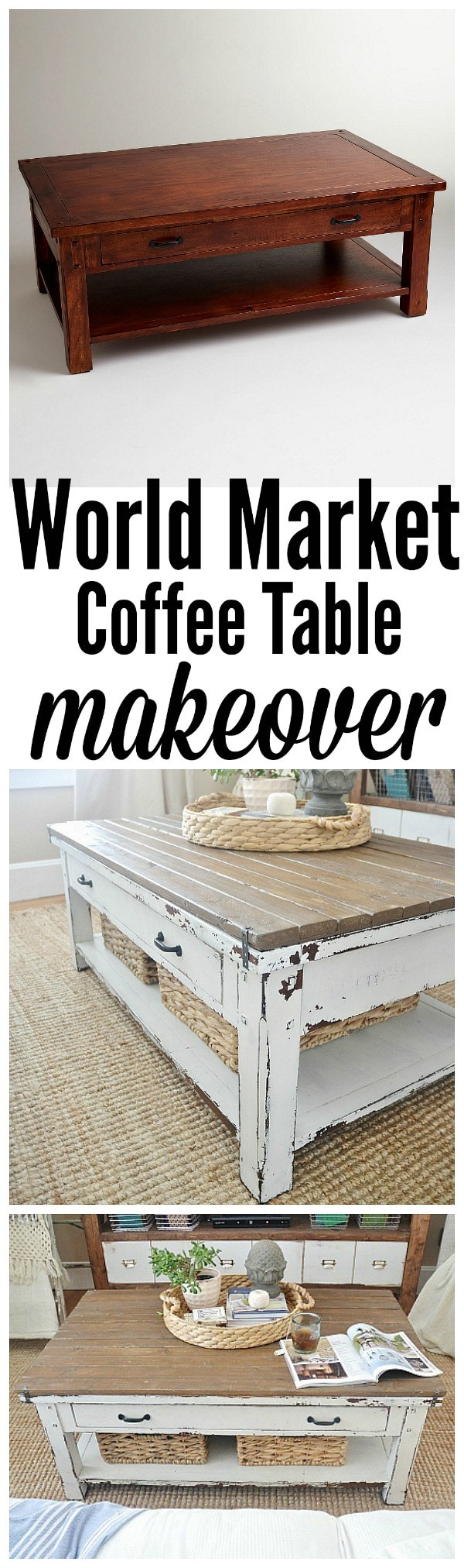 World market coffee table makeover - so simple & such a dramatic change!