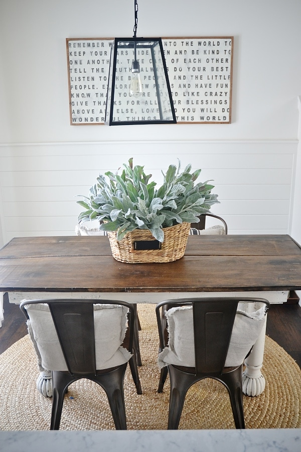 Good Rustic metal u wood dining chairs with a farmhouse table