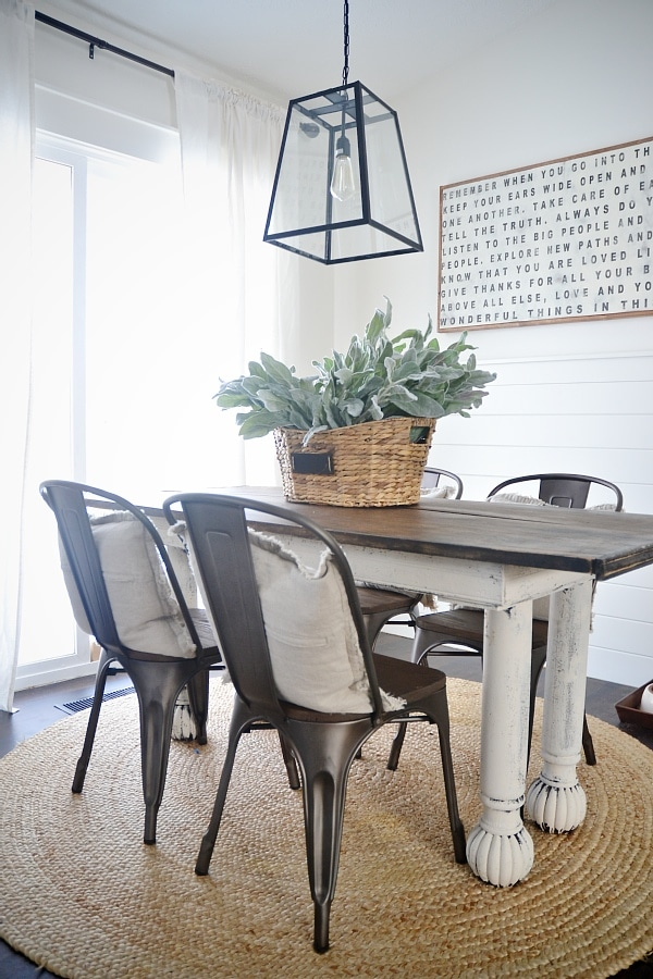 Fresh Rustic metal u wood dining chairs with a farmhouse table