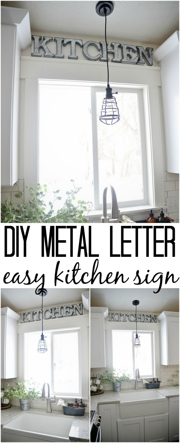 DIY Metal Letter Industrial Kitchen Sign - Liz Marie Blog