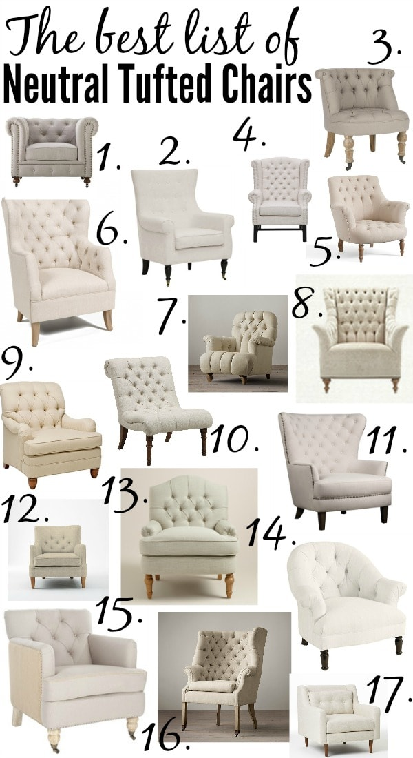 list of living room furniture. The ULTIMATE list of the best neutral tufted chairs from high to low price  every Best Tufted Neutral Chairs Liz Marie Blog