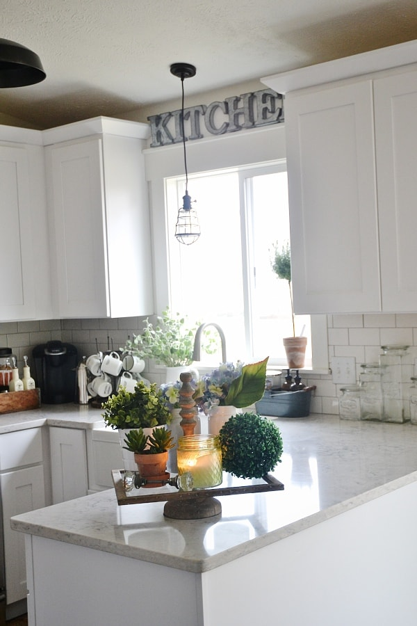 Farmhouse Kitchen Tray - Liz Marie Blog on How To Decorate A Kitchen Counter  id=11542