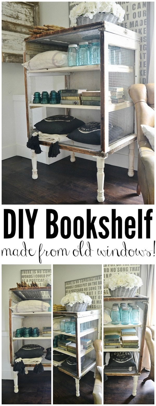 DIY antique window bookshelf - See how to make this super easy lovely bookshelf made with windows & chicken wire. Such an awesome way to re-purpose old windows!