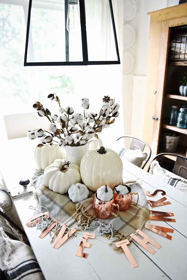fall centerpieces for dining room table | Neutral & Copper Fall Centerpiece - Liz Marie Blog