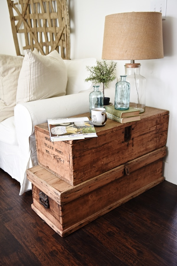 New Lovely neutral cottage style living room stacked trunk end table Cozy rustic farmhouse style