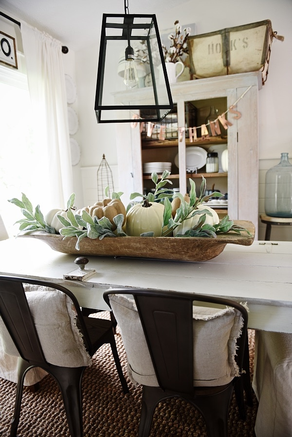Rustic Neutral Fall dough bowl centerpiece - Lovely farmhouse style dining room.