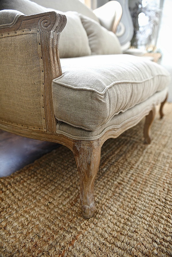 farmhouse settee burlap and natural fiber sofa perfect for a farmhouse living room click