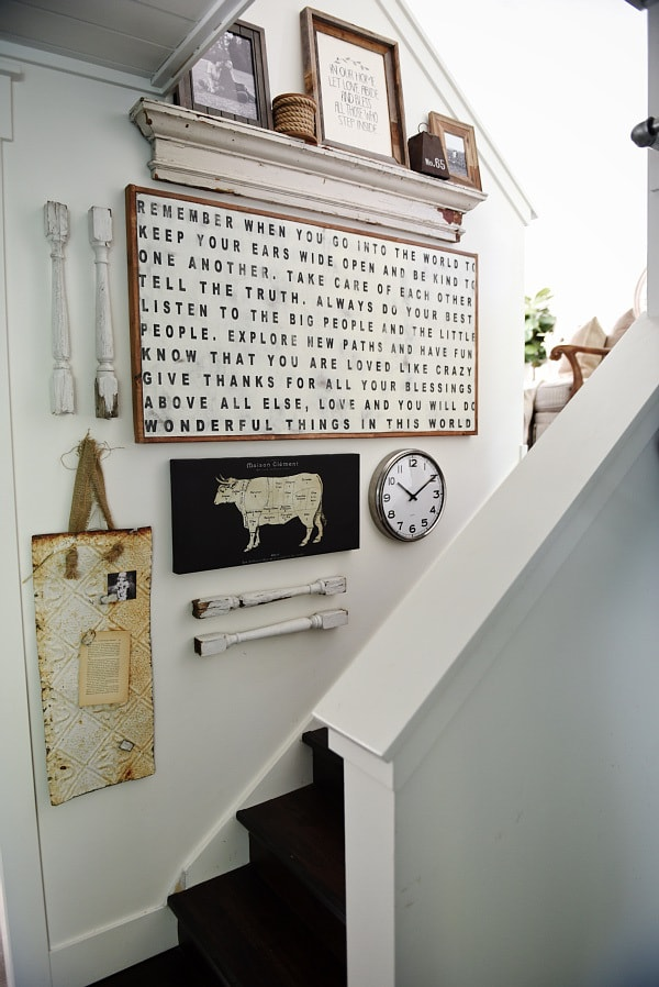 DIY stairway gallery wall - A great blog for DIY farmhouse decor & inspiration for a farmhouse style staircase gallery wall. A must pin for future gallery walls for any room of your home!