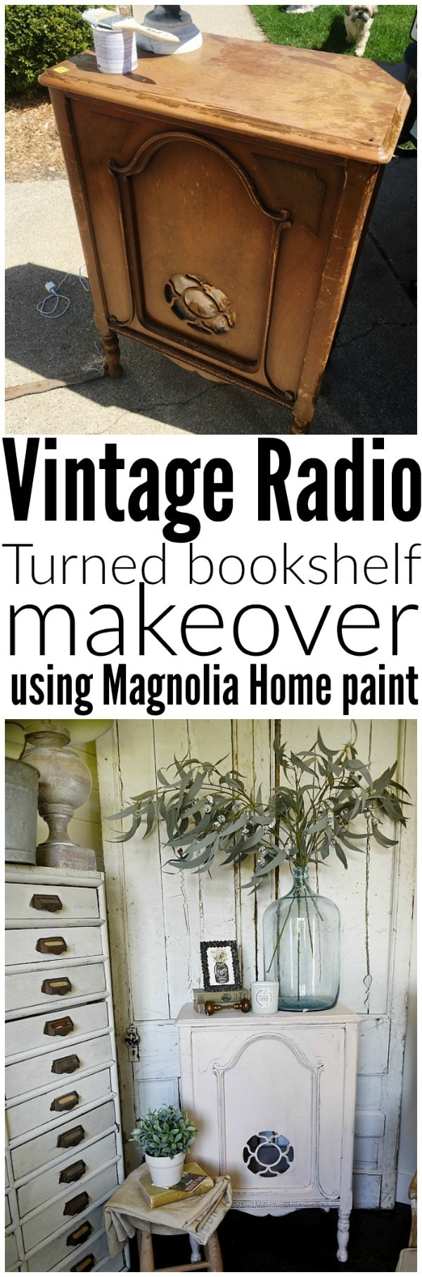 Vintage Radio turned bookshelf - A great piece for a nightstand, shelving, & so much more. Makeover done with the new Magnolia paint in Antique Rose the best blush pink paint color.