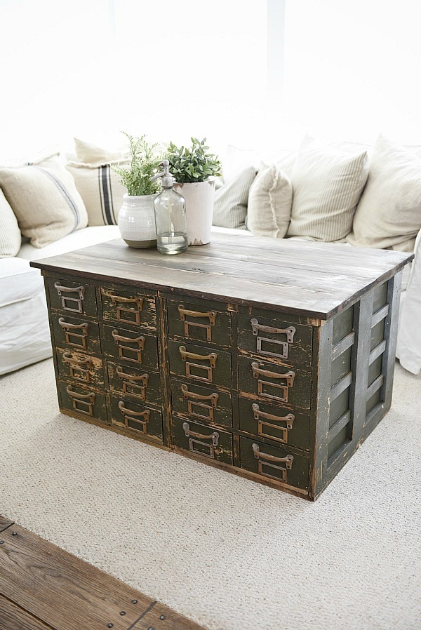 Luxury Rustic Green card catalog coffee table A great source for farmhouse decor