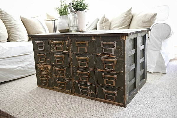 Rustic Green card catalog coffee table - A great source for farmhouse decor!