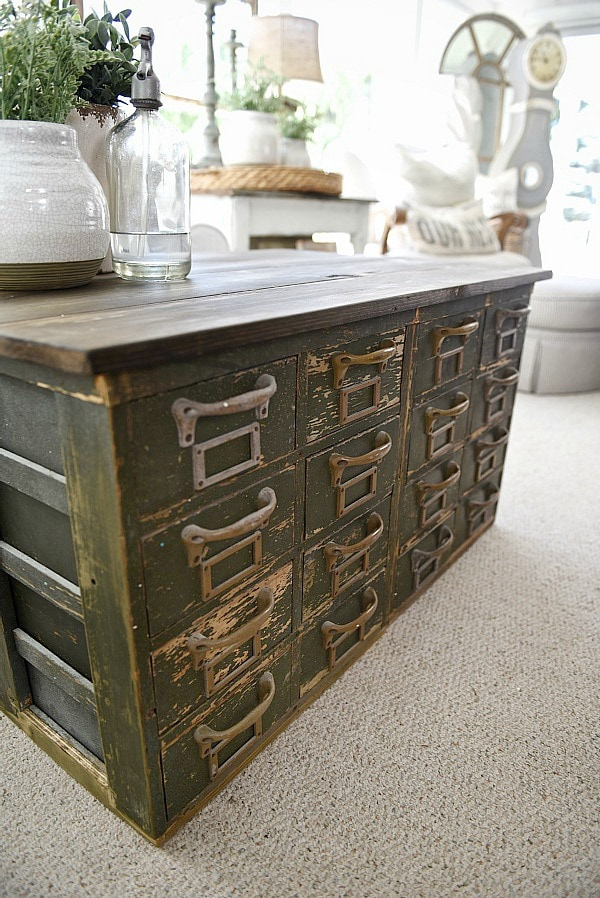 Unique Rustic Green card catalog coffee table A great source for farmhouse decor
