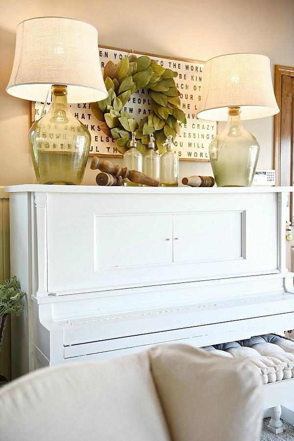 piano decor  farmhouse living room  liz marie blog