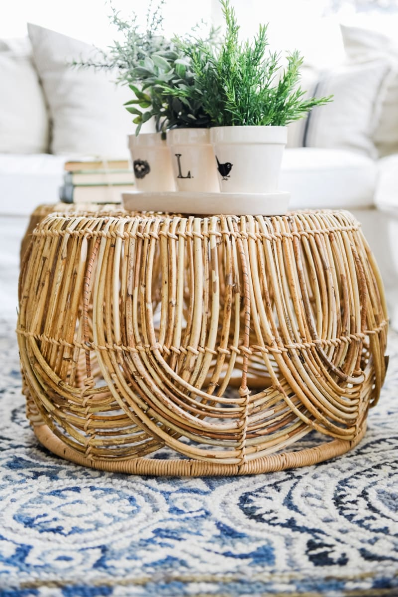Diy basket coffee table liz marie blog Coffee table baskets