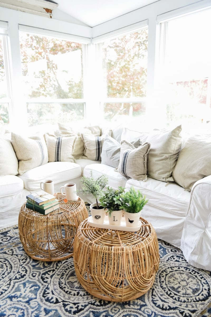 Wicker Coffee Table Sunroom Living Room Design by Liz Marie Blog_0017