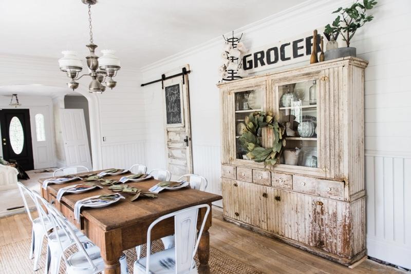 Primitive Dining Room Hutch. Neutral Farmhouse Dining Room. Shiplap Walls,  Primitive Furniture,