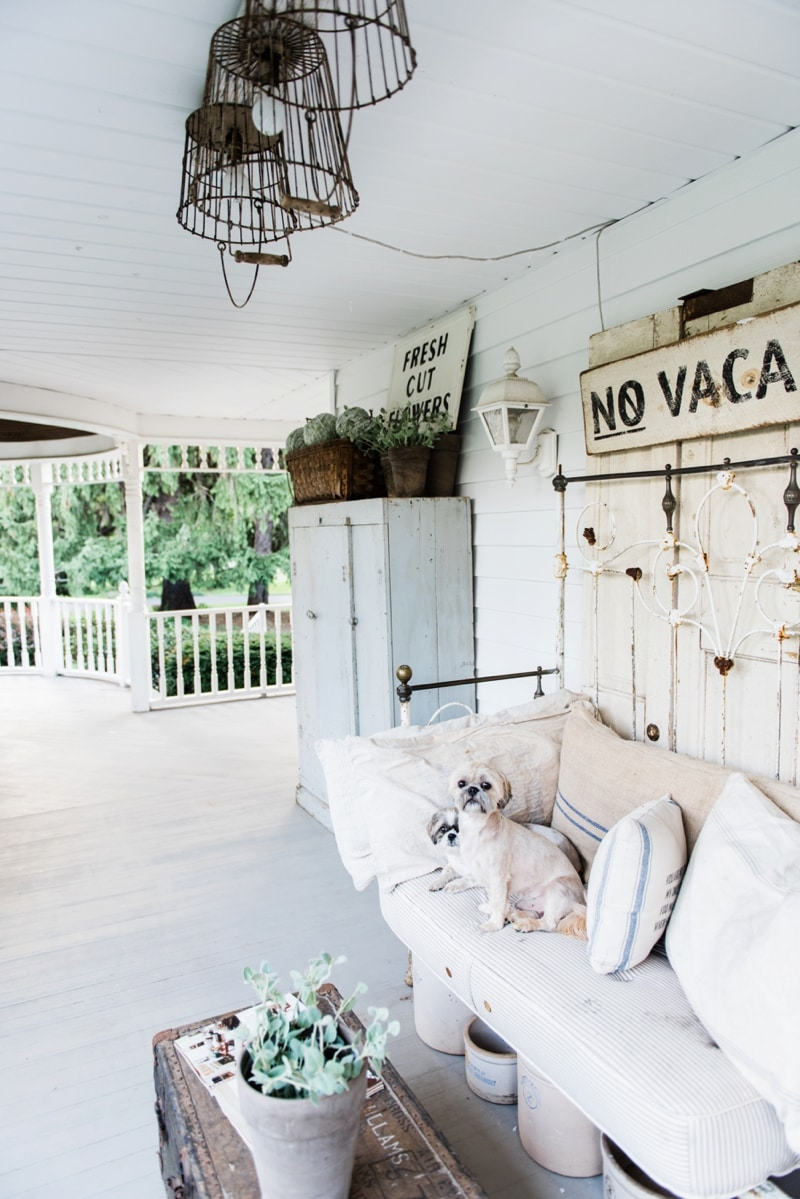 Farmhouse Front Porch - Late summer farmhouse porch. Rustic cottage style farmhouse decor.