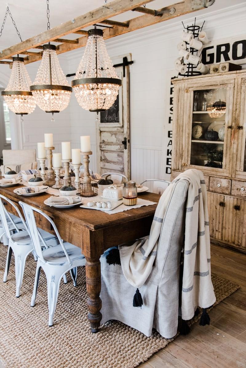 Simple & Neutral Fall Farmhouse Dining Room - Liz Marie Blog on Farmhouse Dining Room Curtains  id=85011
