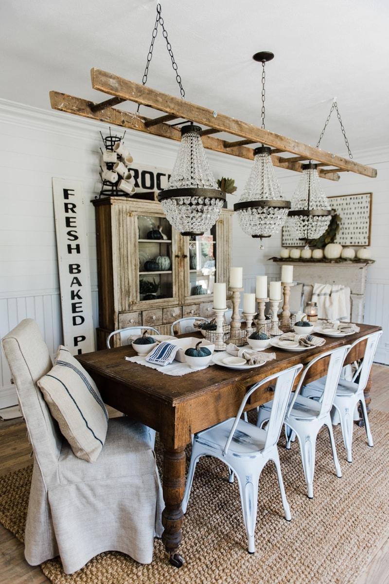 Simple & Neutral Fall Farmhouse Dining Room - Liz Marie Blog on Farmhouse Dining Room Curtains  id=16516