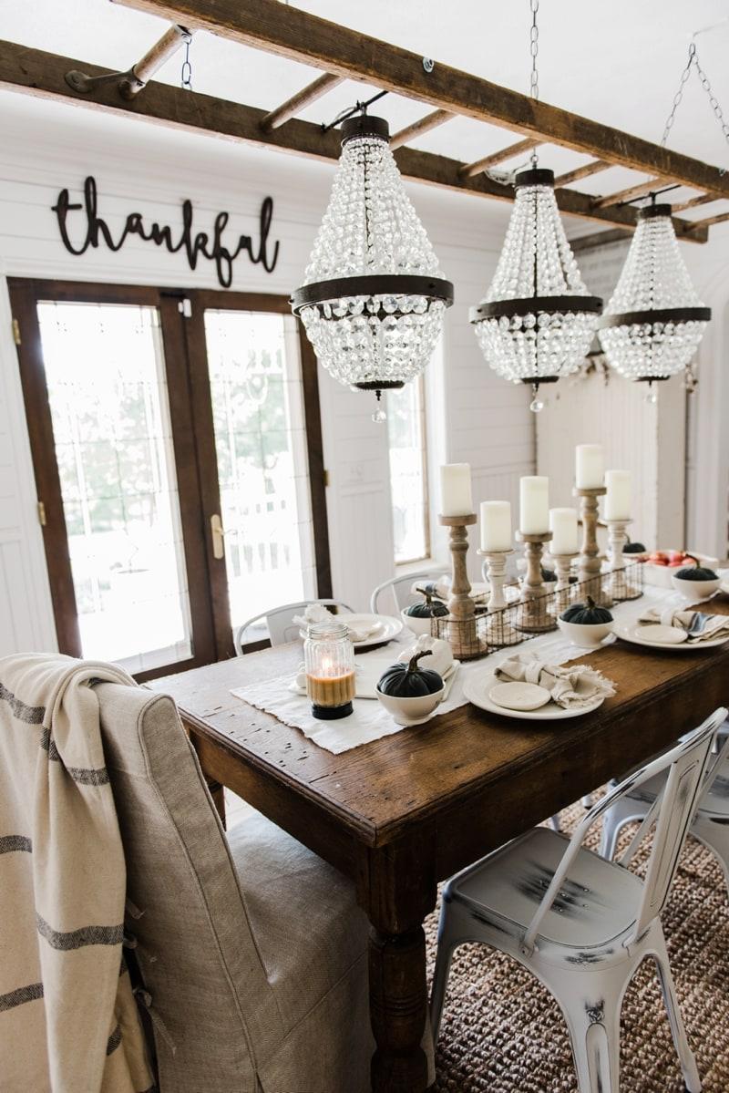 Simple & Neutral Fall Farmhouse Dining Room on Farmhouse Dining Room Curtain Ideas  id=70982