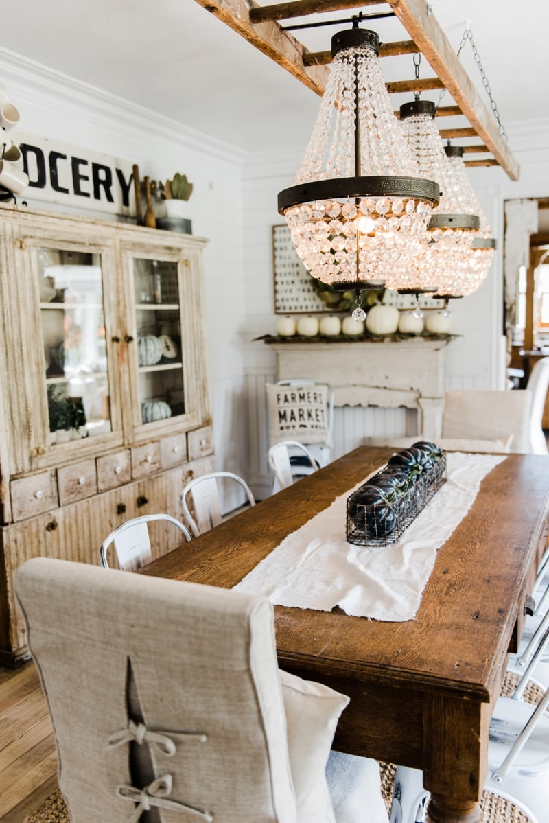 Farmhouse Dining Room Makeover   Crystal Chandelier Update.