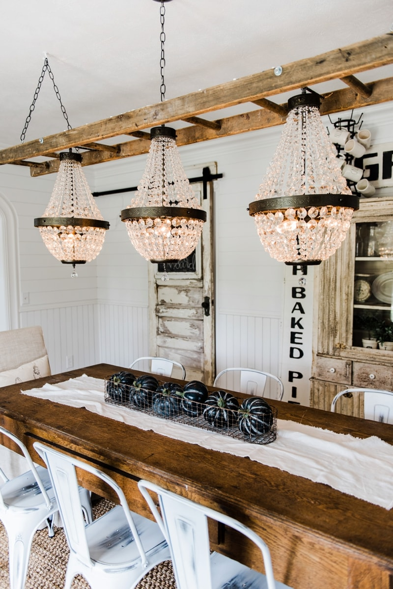 Inspirational Farmhouse dining room makeover Crystal chandelier update