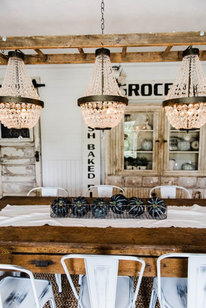 Farmhouse Dining Room Makeover Crystal Chandelier Update