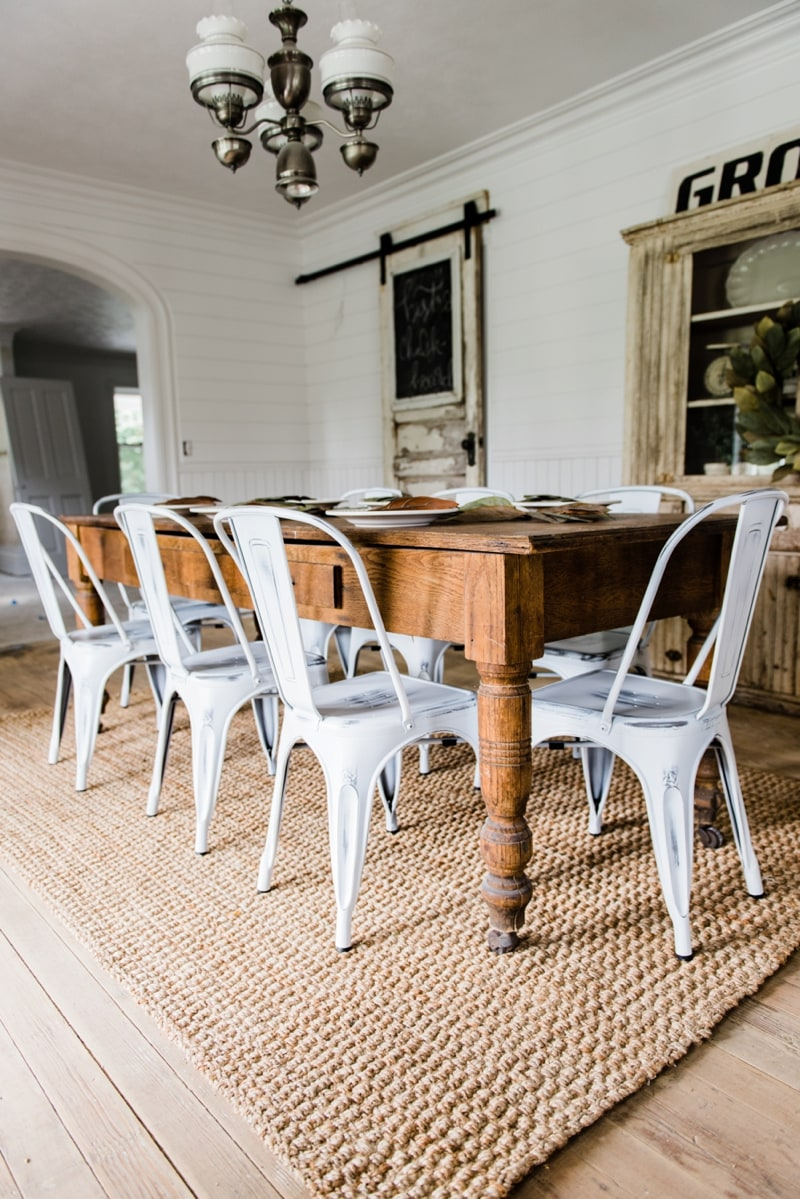 White farmhouse Metal Chairs Dining Room Decor