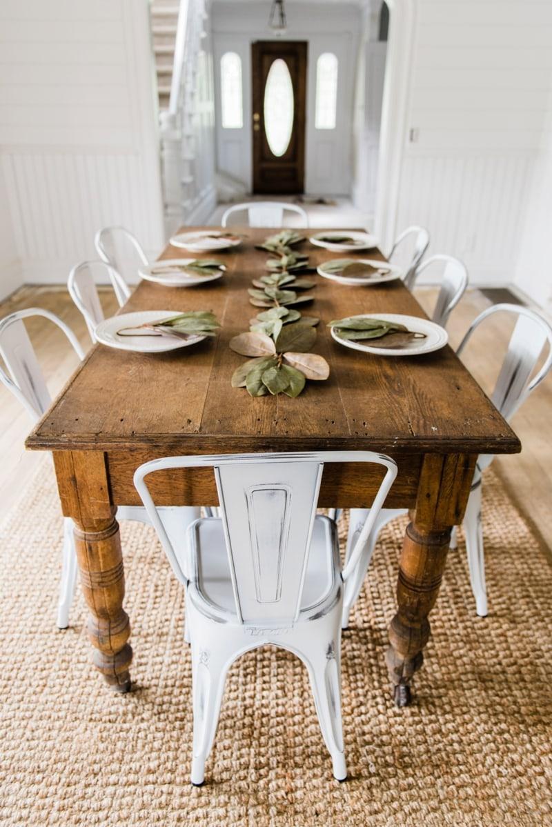 Farm Dining Room Table Part - 39: White Farmhouse Metal Chairs Dining Room Decor By Liz Marie Blog - Farmhouse  Dining Room