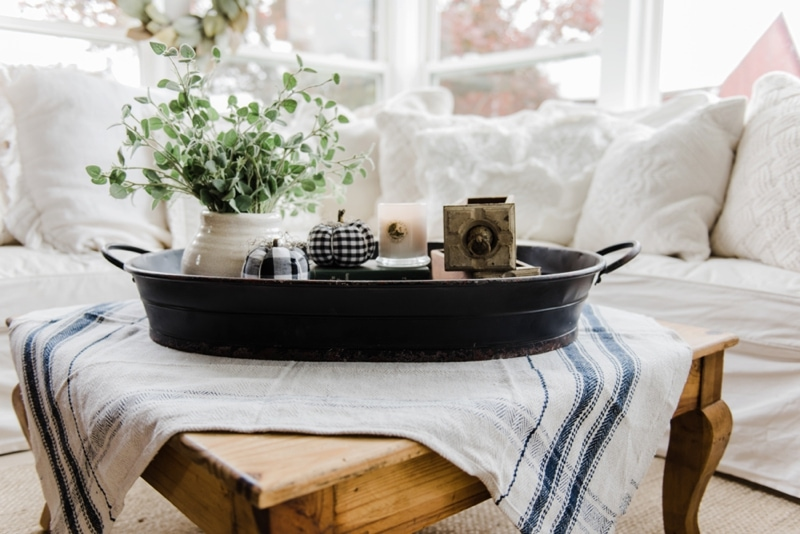 Fabulous Farmhouse style coffee table in the sunroom A lovely warm wood style coffee table style