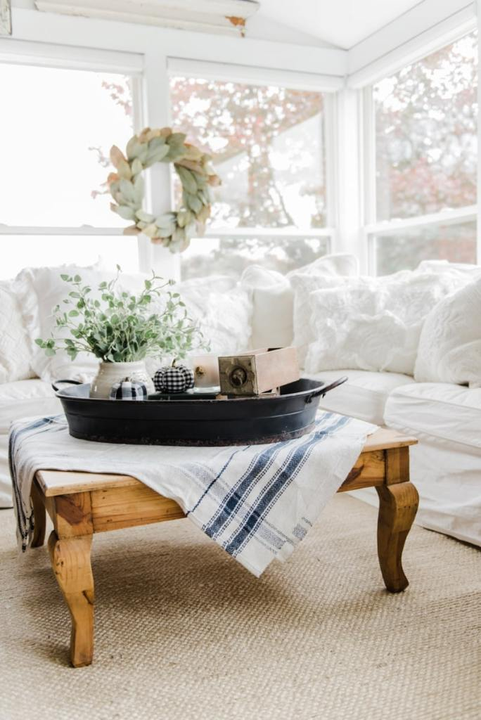 Farmhouse Style Coffee Table In The Sunroom