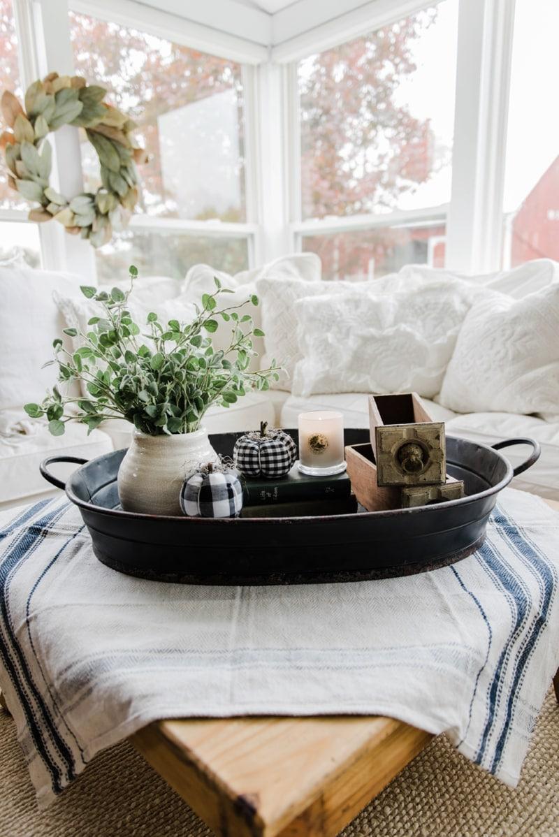Farmhouse Style Coffee Table In The Sunroom   A Lovely Warm Wood Style  Coffee Table Style