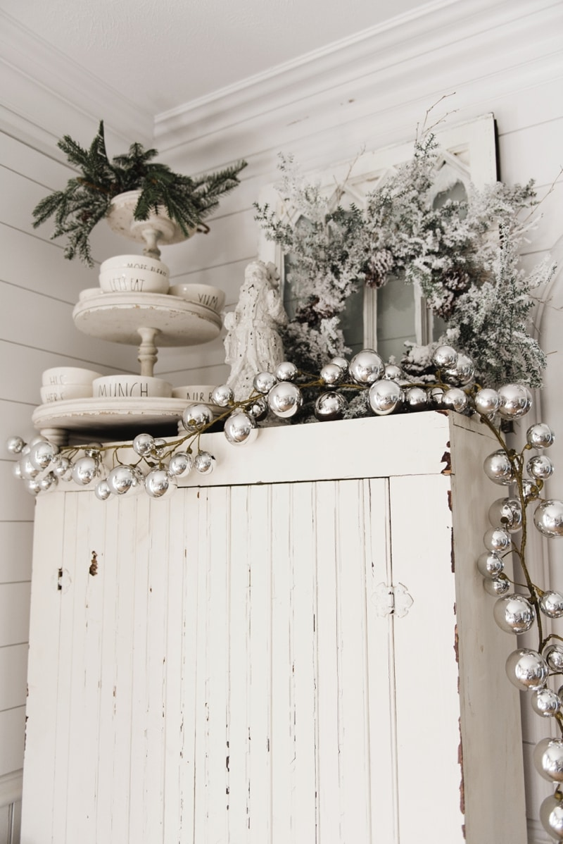 Farmhouse Christmas Cabinet & Rustic Santa - Liz Marie Blog