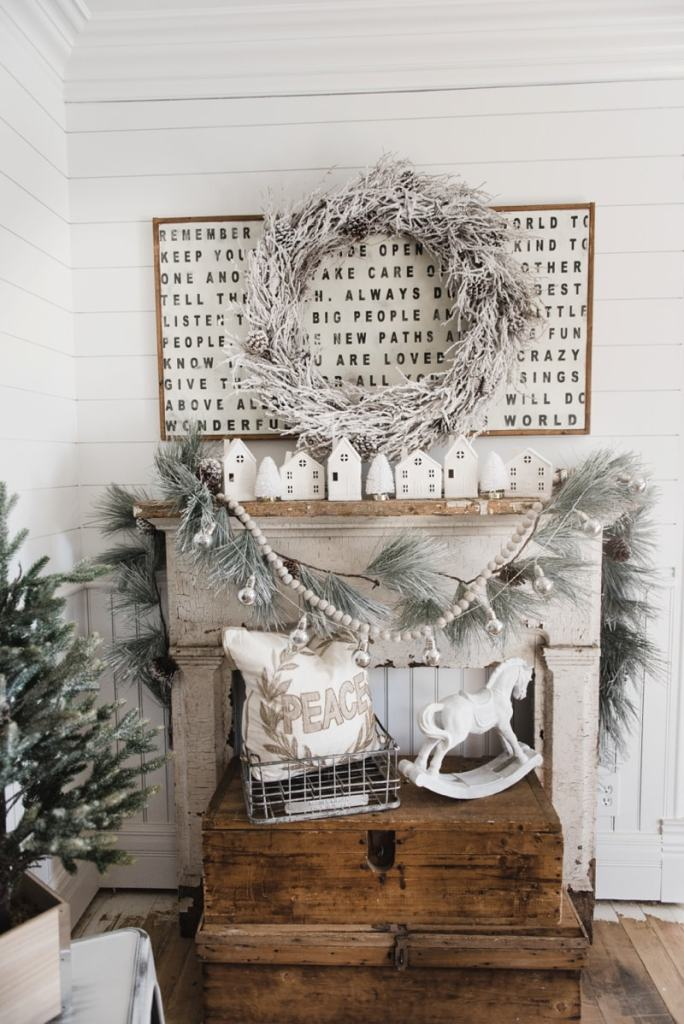 Farmhouse Christmas Village Mantel Liz Marie Blog