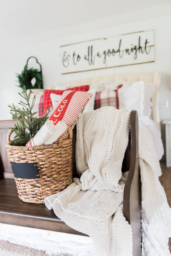 Cozy cheerful farmhouse Christmas bedroom A
