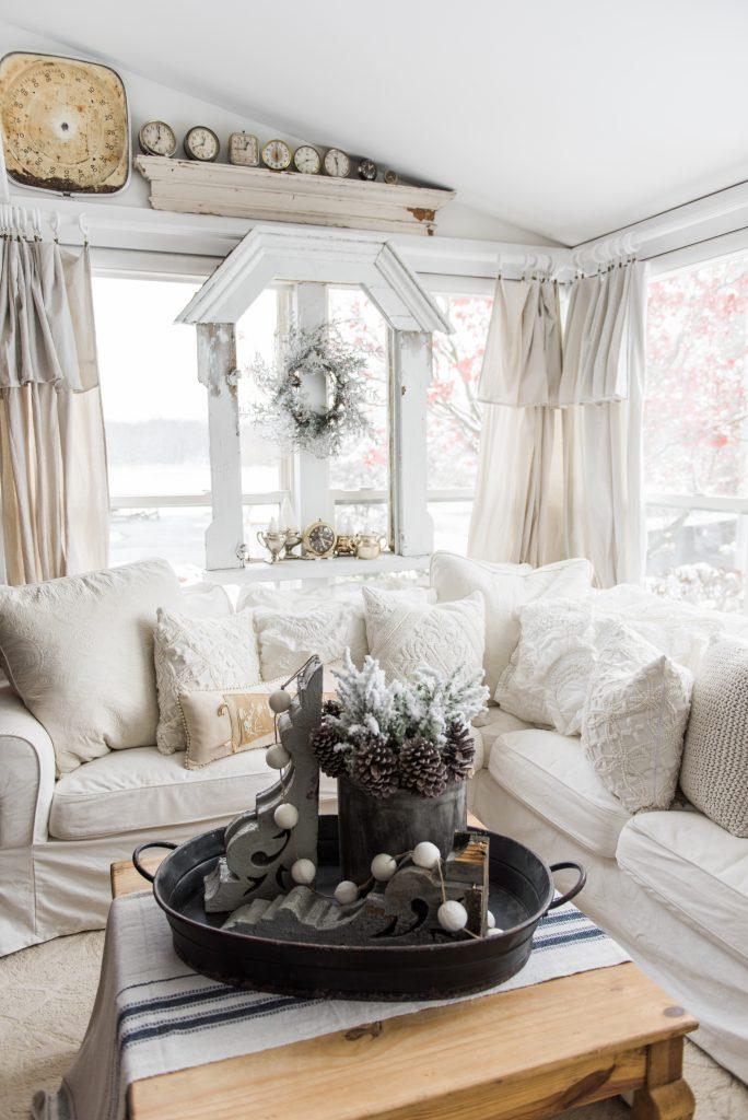 diy drop cloth curtains in the sunroom