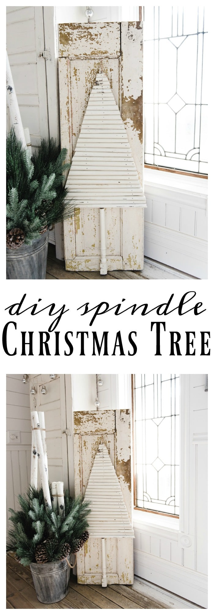 DIY chippy spindle Christmas tree - A super easy DIY farmhouse Christmas decor project. A must pin for farmhouse & cottage style Christmas inspiration!