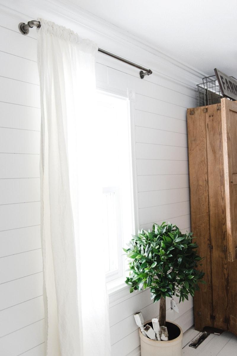 Affordable Industrial Farmhouse Pipe Curtain Rods - Liz ... on Farmhouse Living Room Curtain Ideas  id=74316