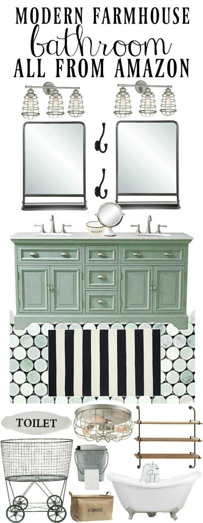 Modern farmhouse bathroom design - All from Amazon!