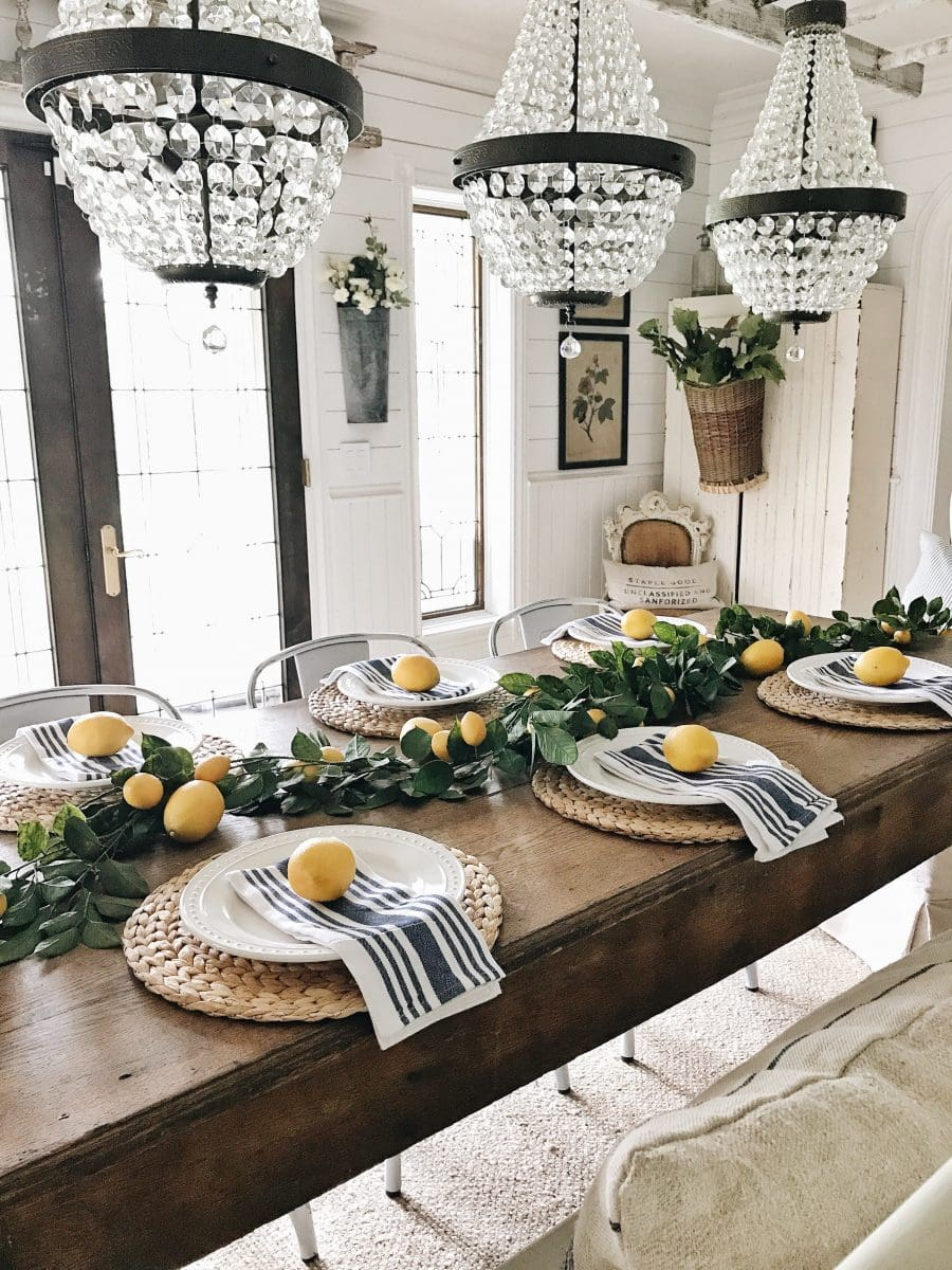 Ideal What do you think of our lemon farmhouse dining room Have you been decorating with lemons this summer How have you used them Let me know in the ments