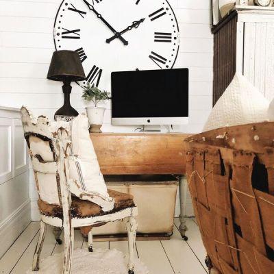 Farmhouse Living Room Office Corner