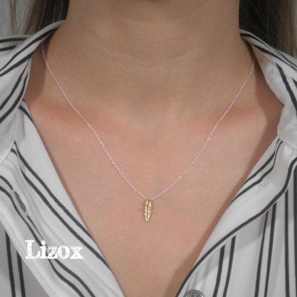 gold feather pendent