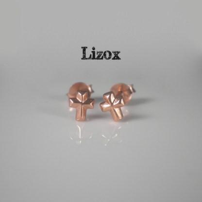 rose gold cross earrings