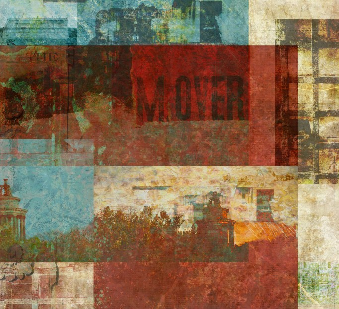 comes first to the hill: DIgital collage by Liz Ruest, 60 layers