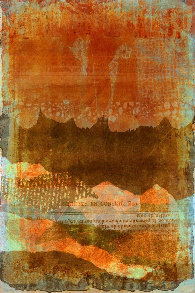 between words is silence: Digital collage, 19 layers © 2021 Liz Ruest