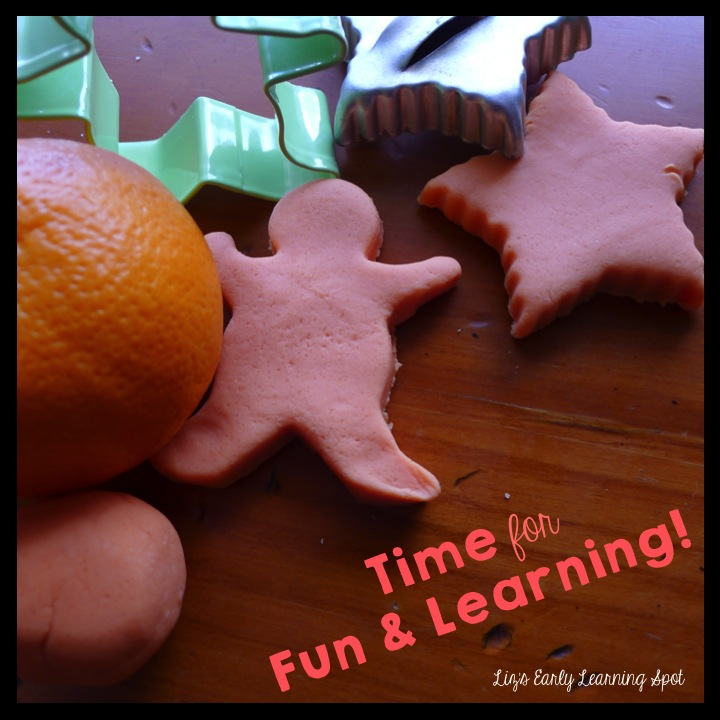 No cook orange play dough recipe (Liz's Early Learning Spot)